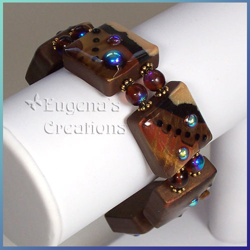 One-of-a-kind polymer clay bracelet with Faux Lampwork beads