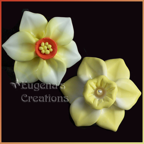 One-of-a-kind polymer clay daffodil focal beads