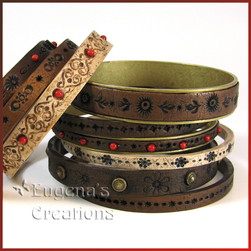 Faux Leather Polymer Clay Bracelets