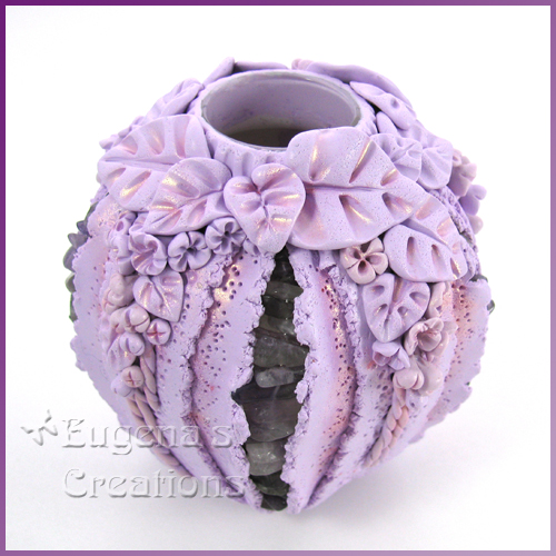 One-of-a-kind polymer clay vase with sculpted lilac flowers and amethyst