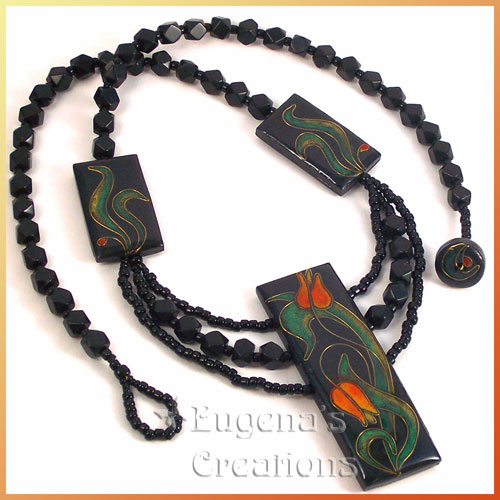 One-of-a-kind necklace with three faux cloisonne focal beads and a clasp