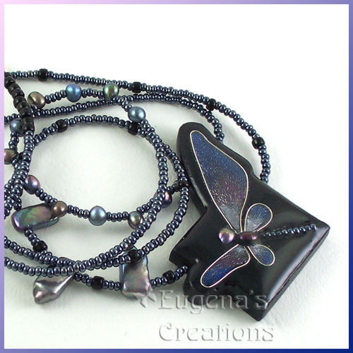 One-of-a-kind necklace with a faux cloisonne focal bead