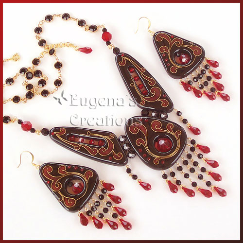 Earrings and necklace set with faux cloisonne focal beads and Swarovski crystals