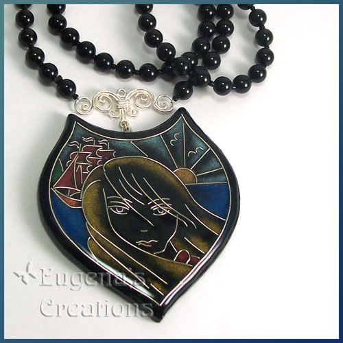 One-of-a-kind necklace with faux cloisonne focal bead inspired by the stories of Alexander Green