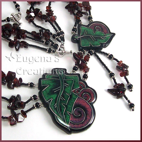 One-of-a-kind necklace with two faux cloisonne focal beads