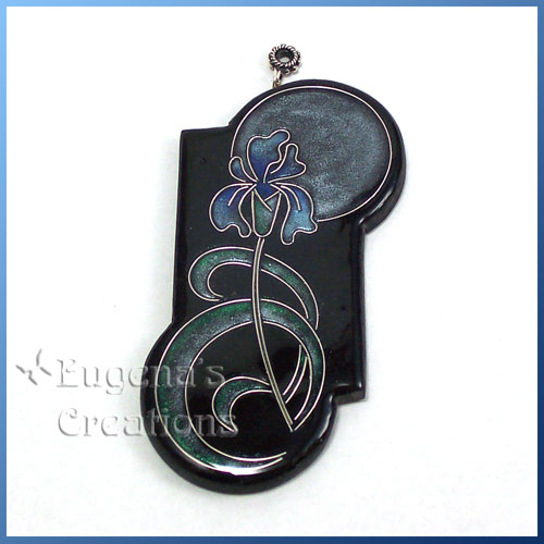 Faux cloisonne pendant with an iris design in Art Nouveau style