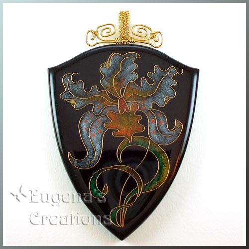 Faux cloisonne pendant with an orchid design in Art Nouveau style