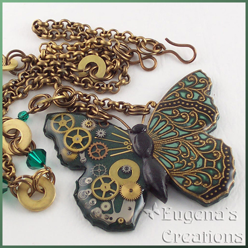 One-of-a-kind necklace with a steampunk butterfly, green