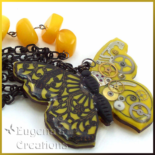 One-of-a-kind necklace with a steampunk butterfly